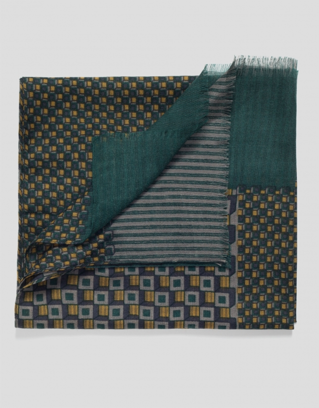 Green and brown geometric print wool scarf