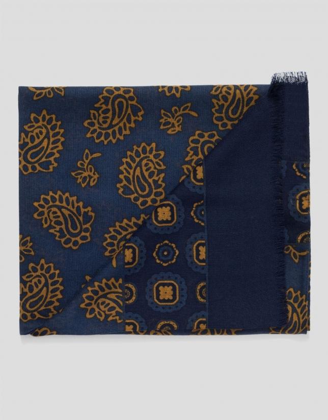 Echarpe en laine imprimée cachemire et fleurs en bleu/doré