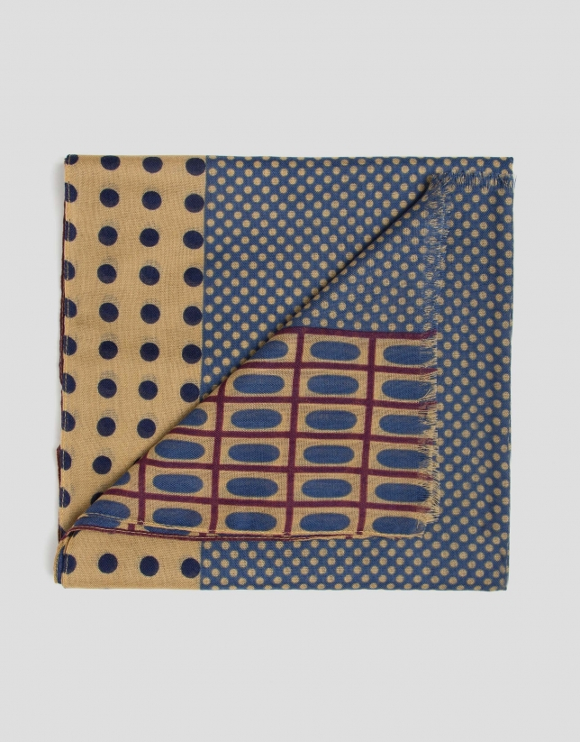Blue and camel wool scarf with polka dots