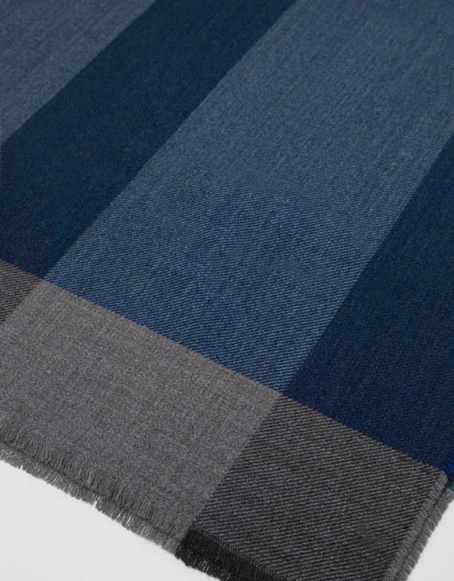 Foulard à grands carreaux en bleu/vert