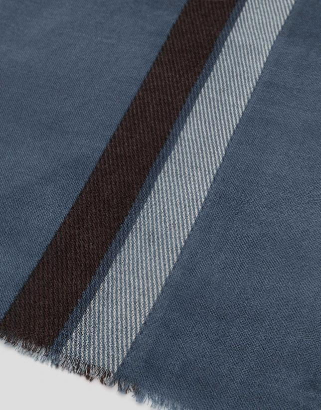 Fular lana celeste oscuro con rayas