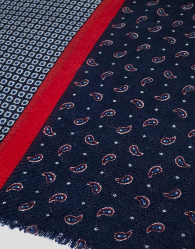 Echarpe à bandes cachemires et géométriques en bleu/rouge