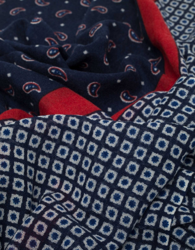 Blue and red geometric print scarf with dotted panels