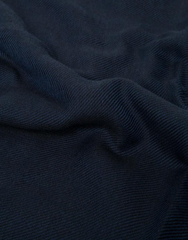 Blue scarf with orange border