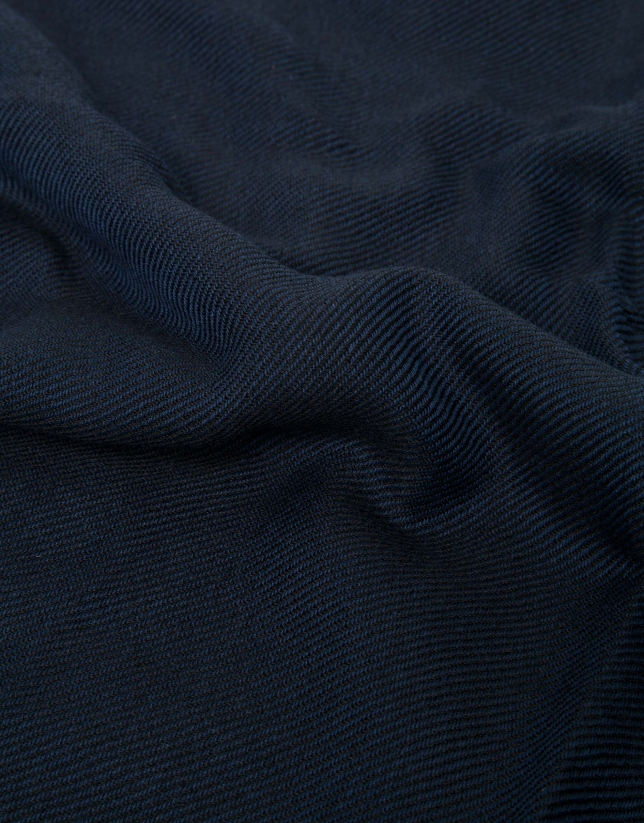Fular liso azul borde naranja