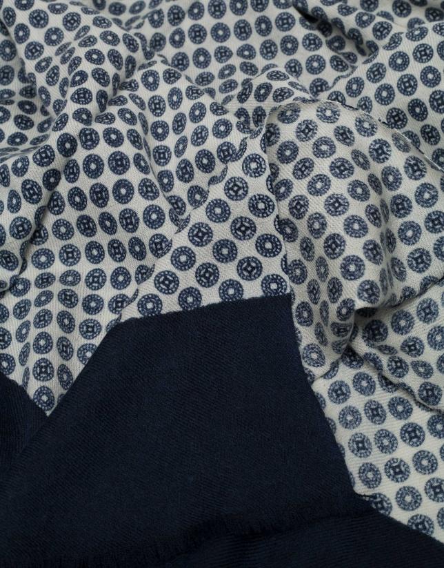 Beige and navy blue necktie design scarf