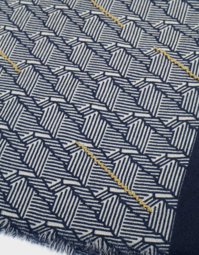 Fular dibujo geométrico crudo/marino