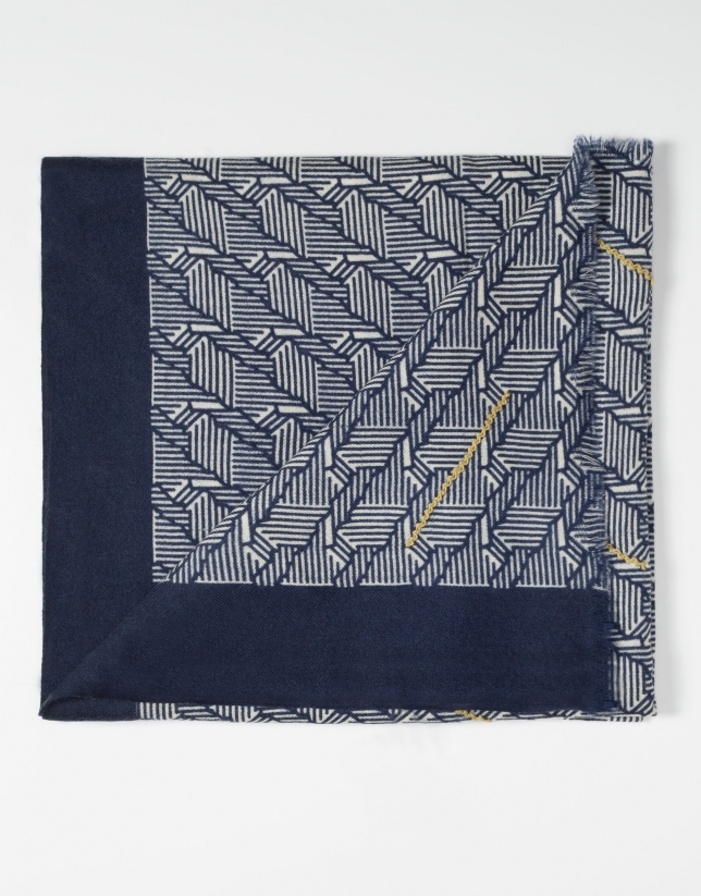 Beige and navy blue geometric design scarf