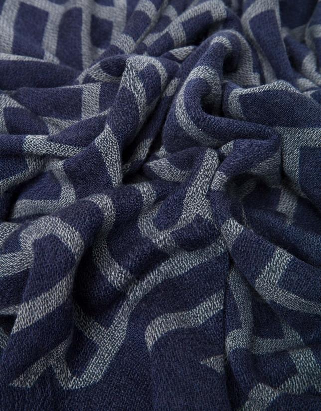 Foulard à jacquard géométrique bleu roi/écru