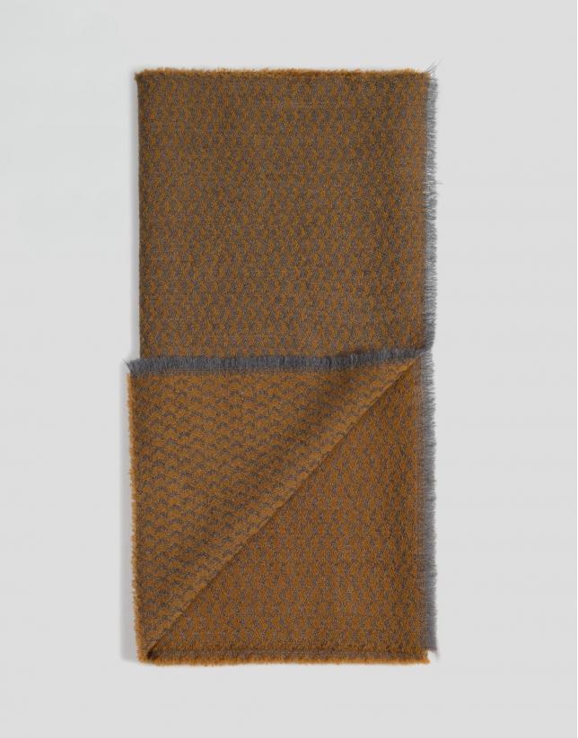 Echarpe en laine bicolore en gris et jaune