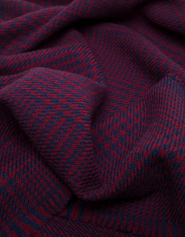 Blue and burgundy checked scarf