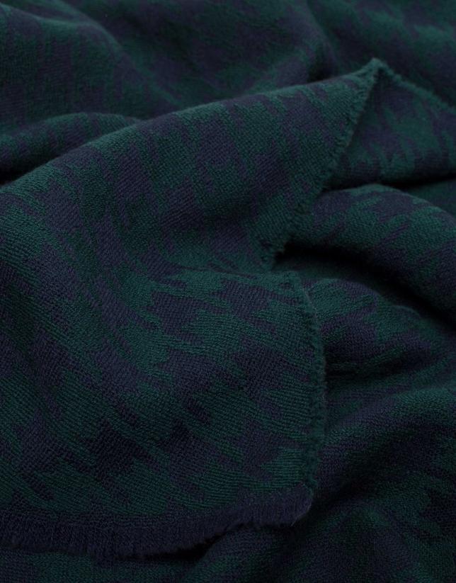 Echarpe pied de poule en bleu et vert