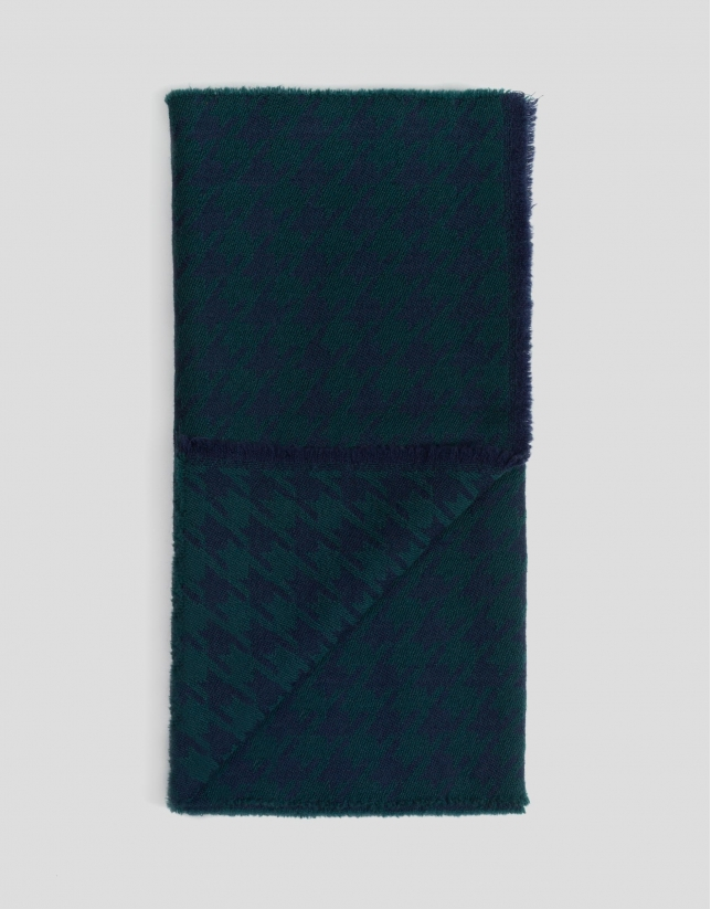 Blue and green houndstooth scarf