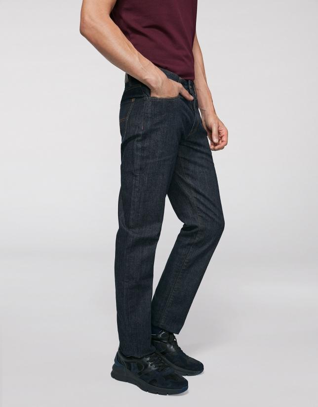 Pantalon en denim bleu foncé