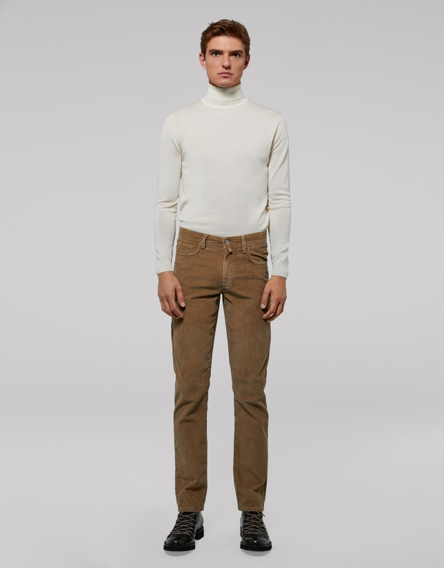 Camel corduroy pants with five pockets