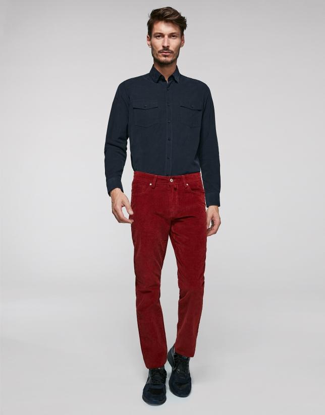 Pantalon cinq poches en velours couleur tuile