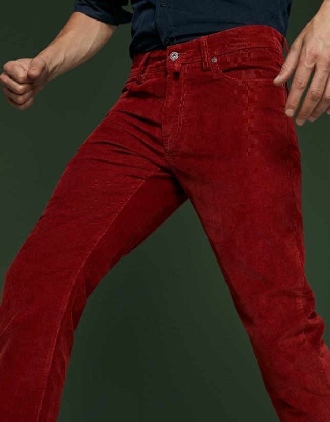 Pantalón cinco bolsillos pana teja