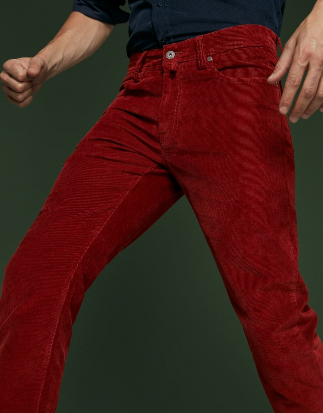 Tile corduroy pants with five pockets