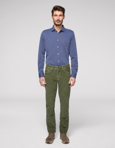 Khaki corduroy pants with five pockets