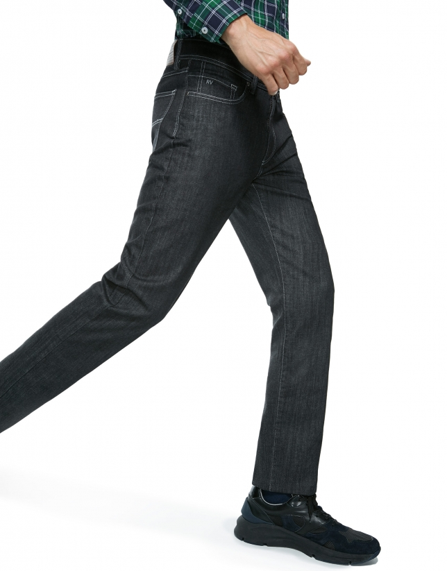 Pantalon en denim gris