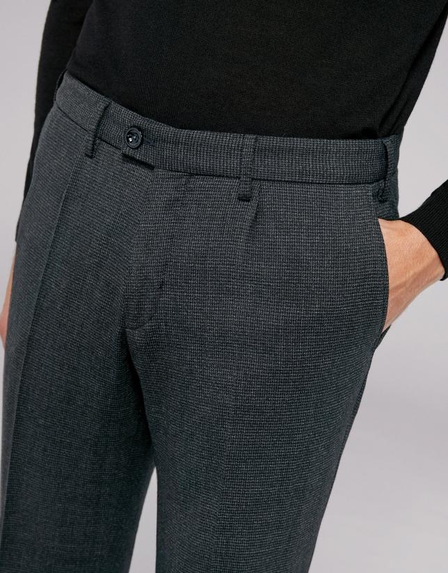 Pantalón chino lana pata de gallo azul