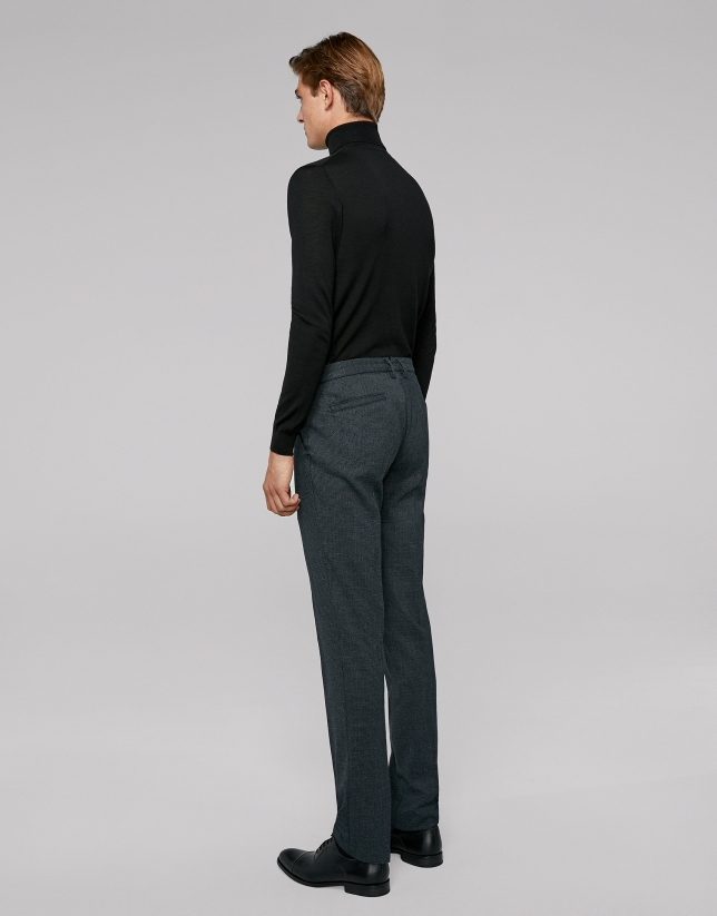 Pantalon chino bleu en laine pied de poule