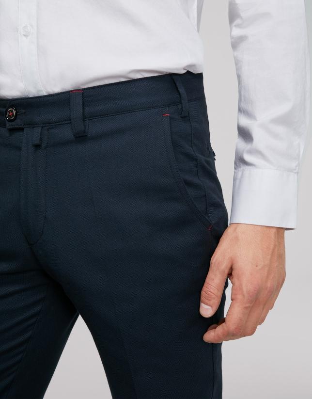 Pantalón chino algodón ojo de perdiz marino
