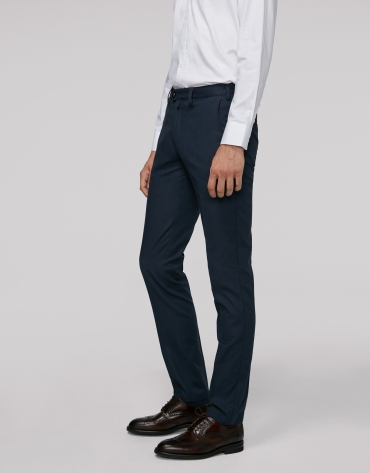 Pantalon chino bleu marine en coton œil de perdrix