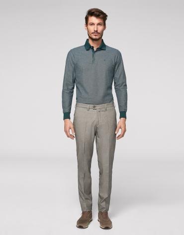 Pantalon chino gris en coton œil de perdrix