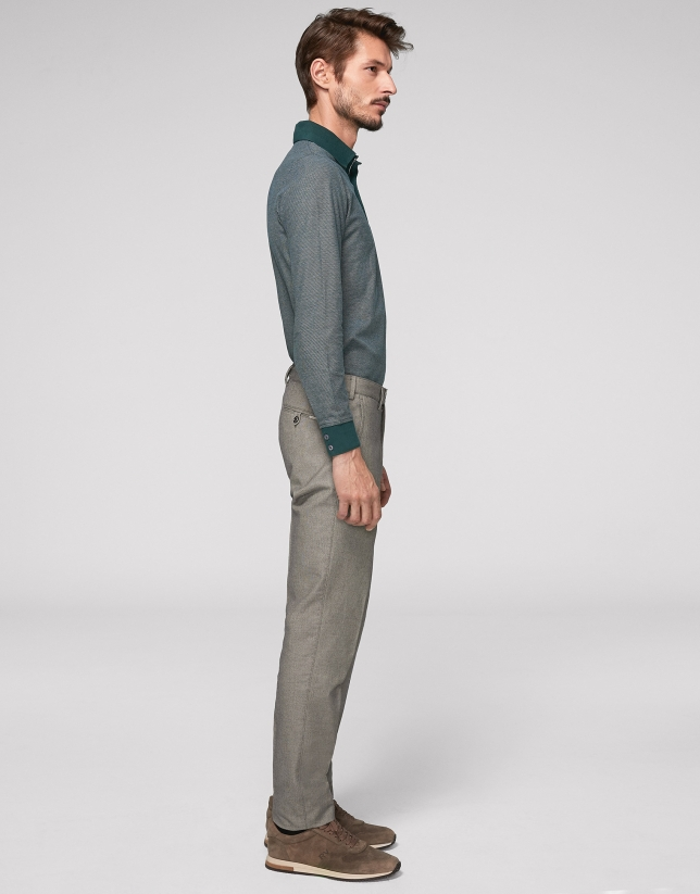 Gray bird's eye weave cotton chinos