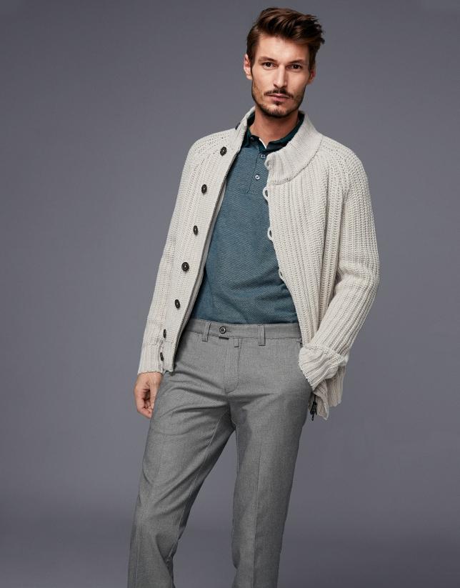 Pantalón chino algodón ojo de perdiz gris