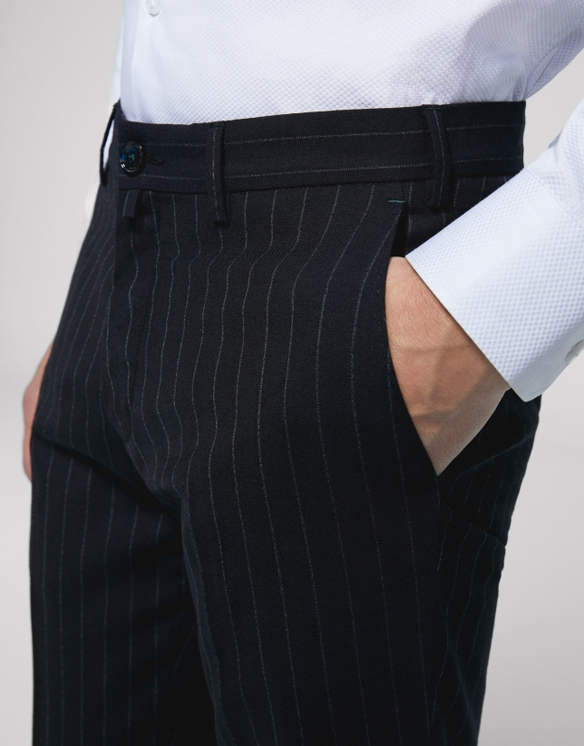Navy blue pinstripe chino separate
