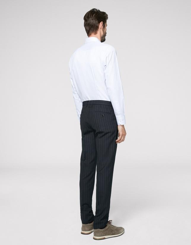 Pantalon chino separate bleu marine à rayures diplomatiques
