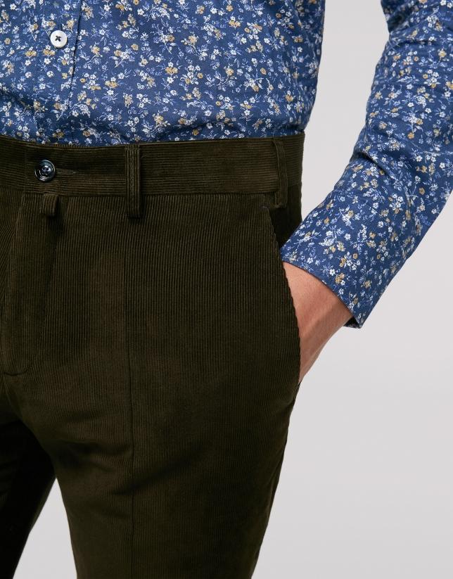 Pantalon chino separate kaki en velours