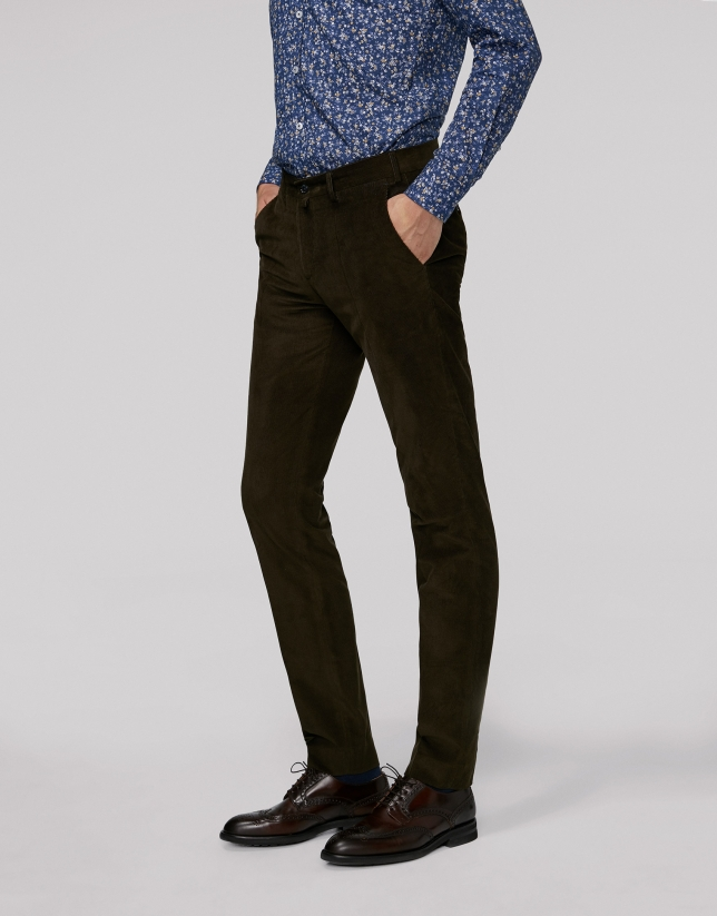 Pantalon chino separate kaki en velours