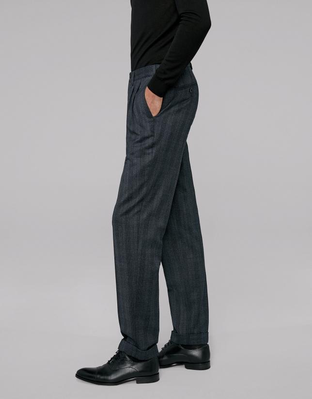 Pantalon à carreaux bleu foncé
