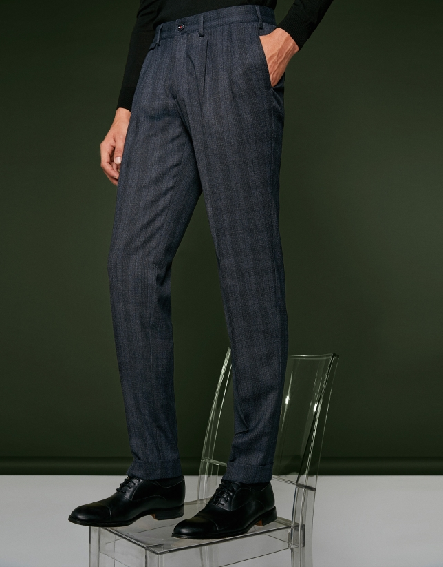 Dark blue checked pants