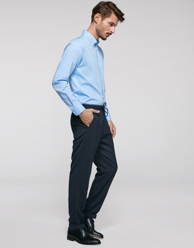 Navy blue pants with elastic waist
