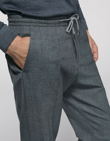 Dark gray pants with elastic waist