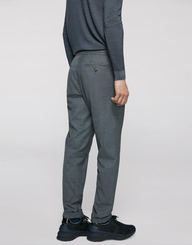 Pantalon taille élastique gris foncé