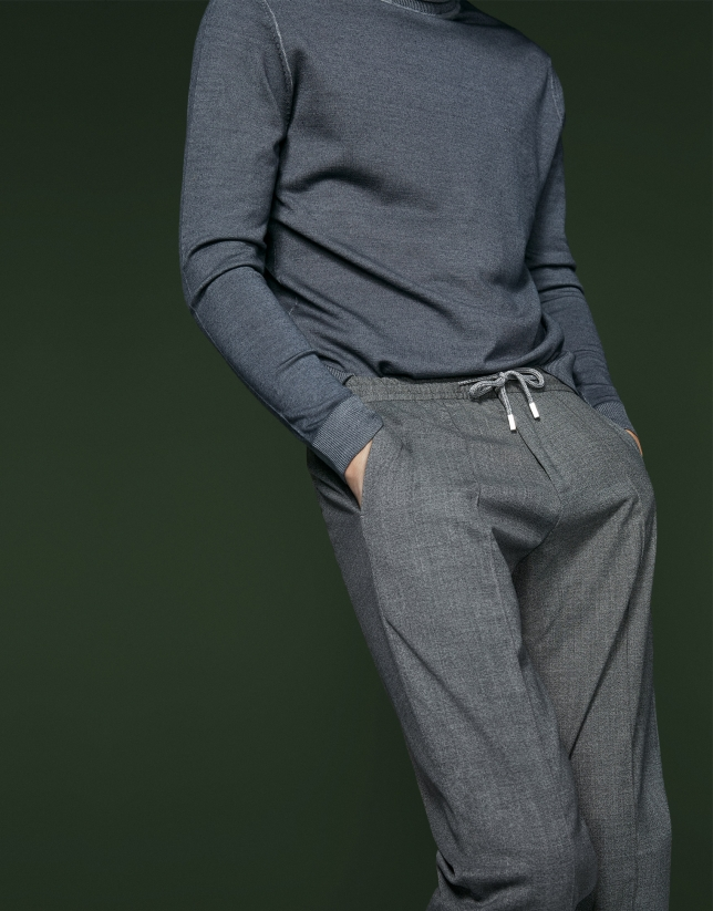 Dark gray pants with elastic waist