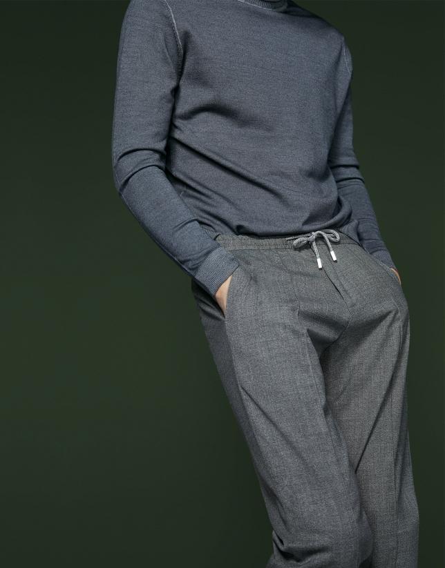 Pantalón con cintura elástica gris oscuro
