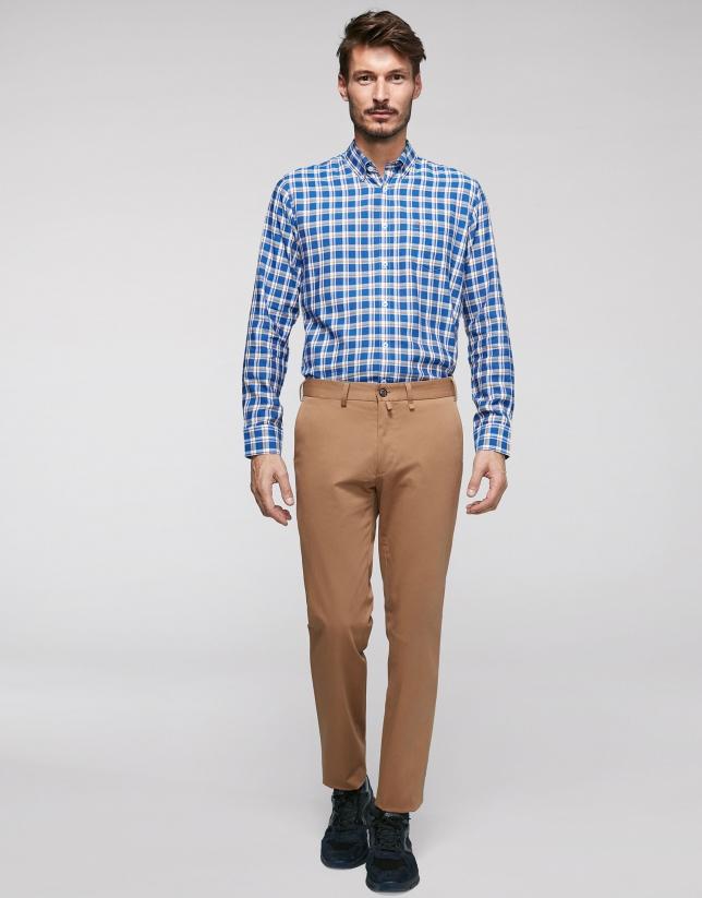 Pantalon chino en coton camel