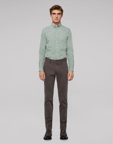 Coffee-coloured cotton chino pants