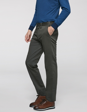 Khaki cotton chino pants