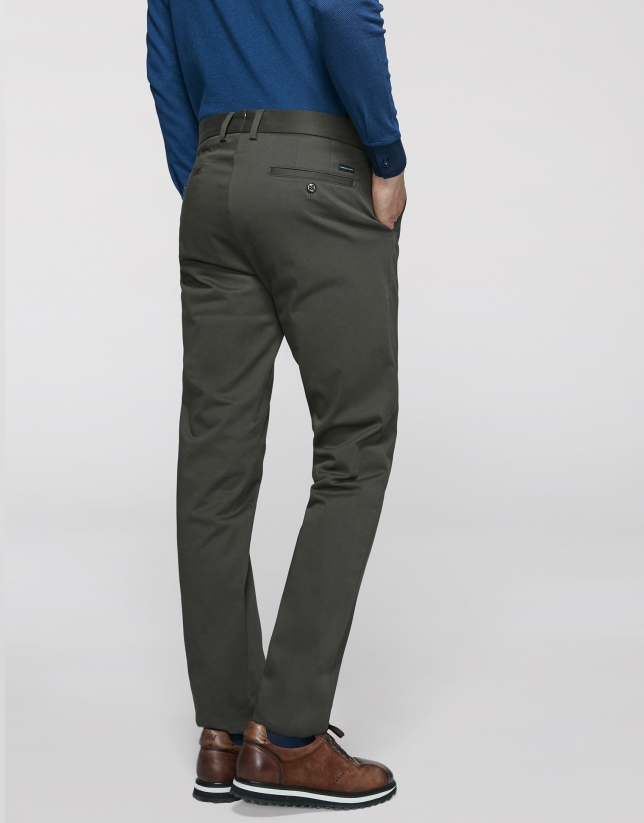 Khaki cotton chino pants
