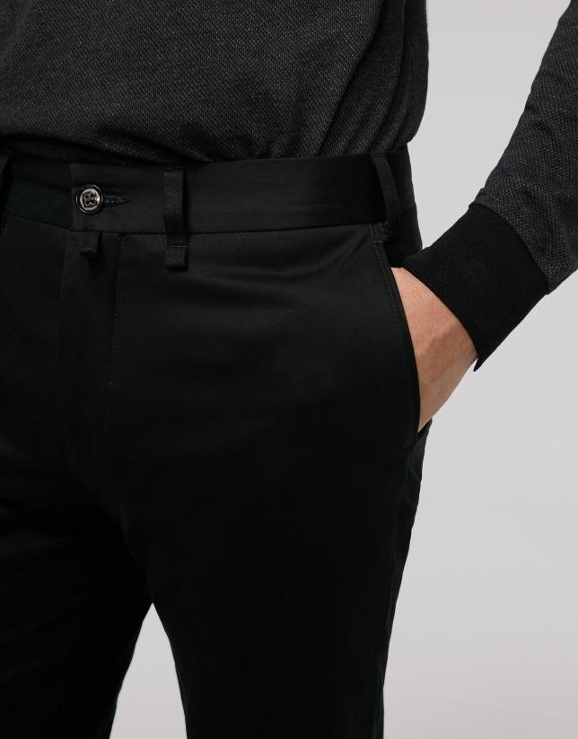 Black cotton chino pants