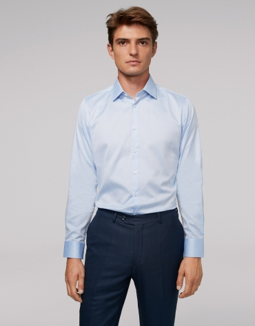Light blue herringbone dress shirt