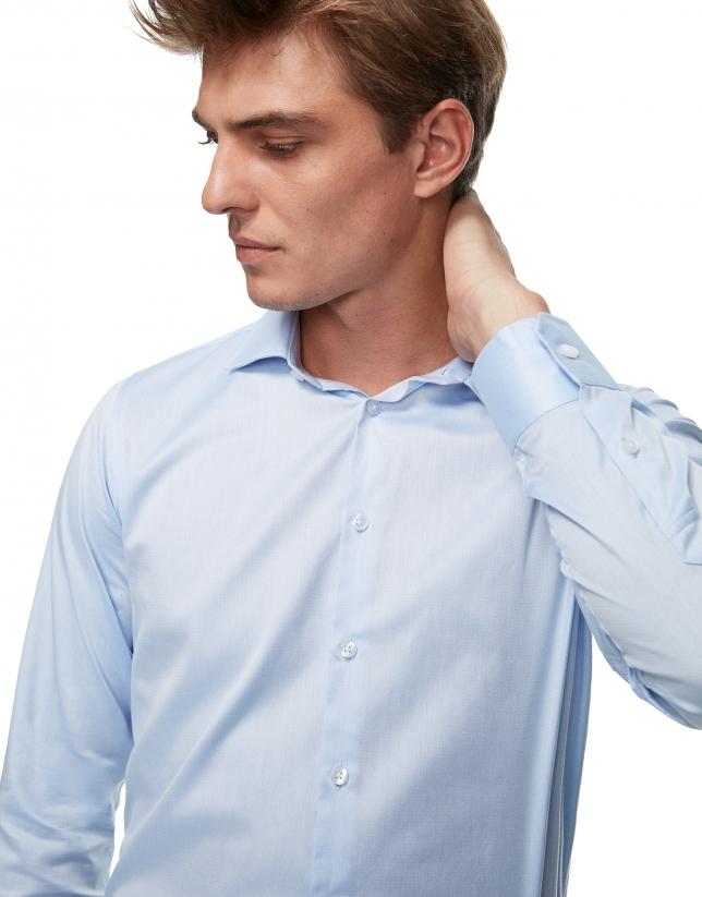 Chemise habillée bleu ciel à chevrons