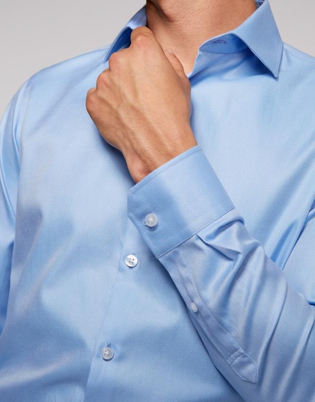 Camisa vestir algodón rayas finas celeste